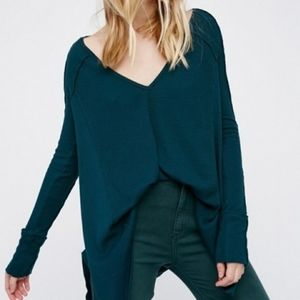 FREE PEOPLE DARK GREEN PACIFIC THERMAL TOP SZ XS